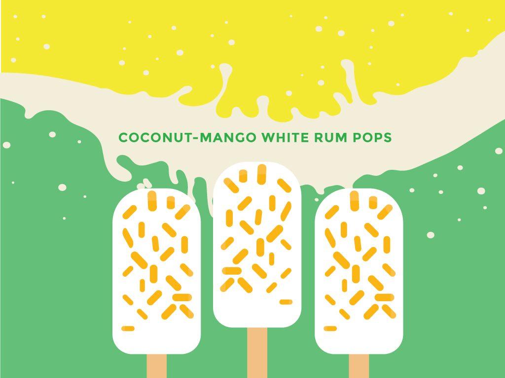 Coconut-Mango White Rum Pops