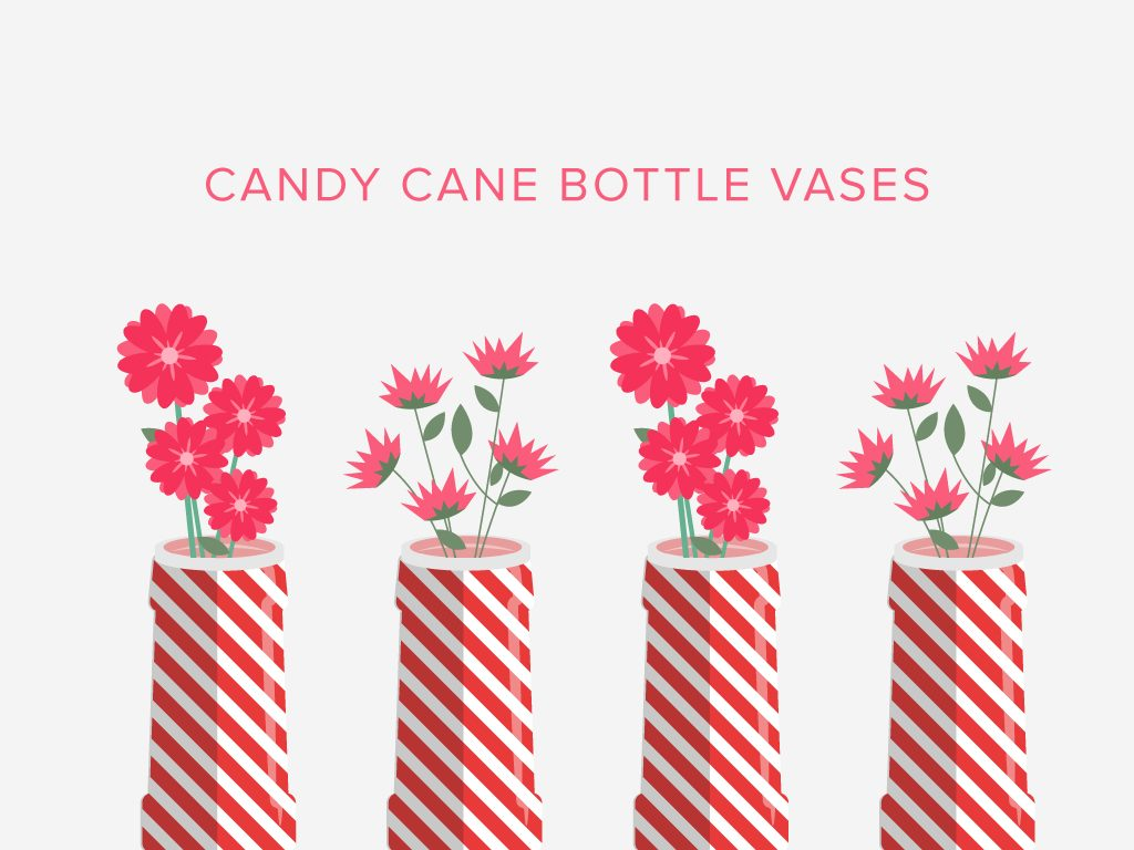 Candy Cane Bottle Vases